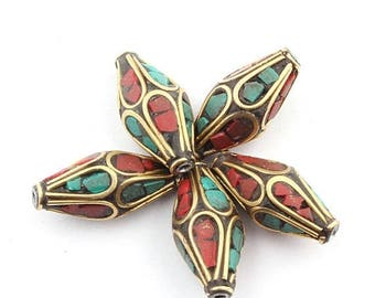 June Clearance Sale 5 Pcs Tibetan Bicone Shape Brass Beads With Turquoise Coral inlay Bead 21mmx10mm PFA184