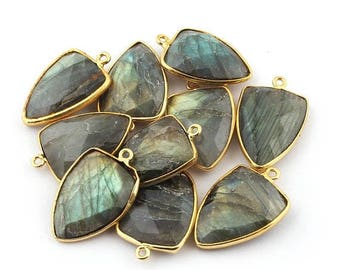 Valentine Day 10 PCS Labradorite 24k Gold Plated Single Bail Pendant - Labradorite Shark Tooth Faceted Pendant 26mmx17mm BC-816