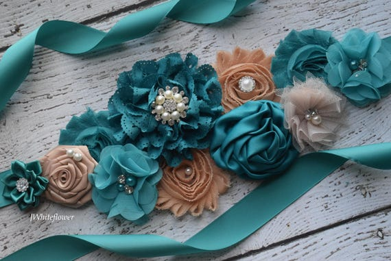 Sash, teal tan  Sash,  flower sash, reveal gender sash, flower Belt, maternity sash