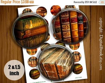 SALE 50% Old books, libraries Digital Collage Sheet 2 inch 1.5 inch Printable circle images for Pocket Mirrors Magnets Labels Pendant - 180