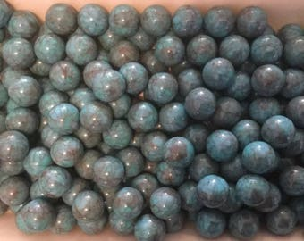 100 Vintage Lucite Marbleized Beads - Aqua with Grey