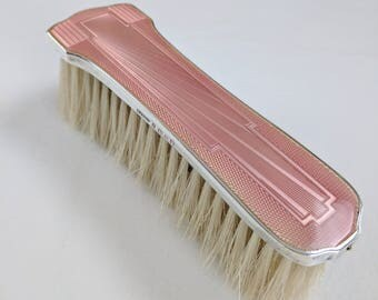 Art Deco English sterling & pink guilloche enamel clothes brush, 1934
