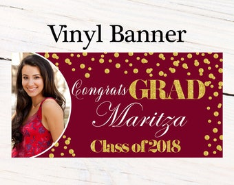 Class of 2018 Graduation Photo Banner ~ Congrats Grad Personalized Party Banners -School Colors Graduation Large Banner, Photo Grad Banner
