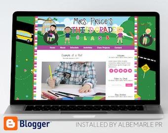 Premade Blogger Template, Mobile Responsive, Teacher Blog Template - Mrs. Price