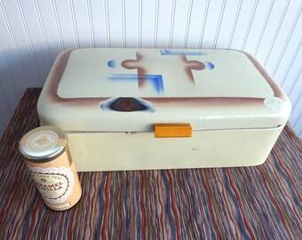 Art Deco Bread Bin Enamelware Tala Chippy 1920s Geometric English Bread Box