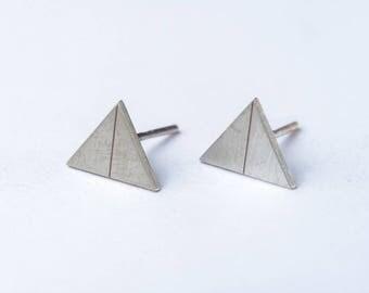minimal silver earrings - geometric earrings - triangle earrings
