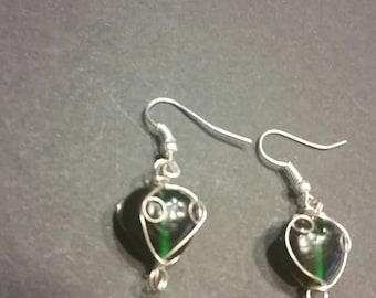 SALE Green Glass Bead Earrings Silver Wire Wrapped Dangle Drop
