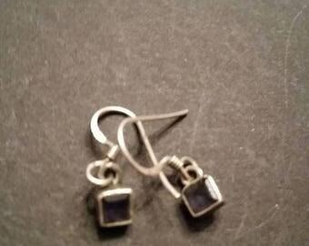 SALE Vintage Sterling Silver Earings Blue Stone Cube Dainty Dangle 925 Jewelry