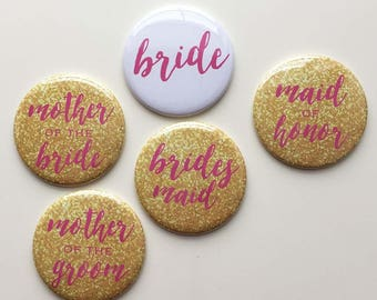 Pink and Gold - Wedding Party - Bridal Shower/Bachelorette Pins (pack of 7)