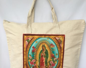 Virgencita Canvas Duffle Bag. Virgen de Guadalupe Shoulder Bag. Virgen Travel Bag. Virgencita Hand Stitched Bag. Gift Friendly