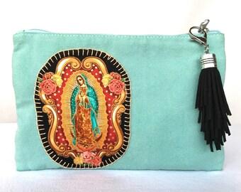 Virgencita Zipper Cosmetic Hand Stitched Bag. Virgencita Teal Canvas School Pencil Bag. Gift Friendly.