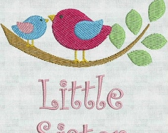 50 percent OFF Instant Download Machine Embroidery Fonts Designs Little Sister Birds Announcement 4 x 4 PES Format Exclusive