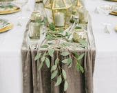 Grey Velvet Table Runner
