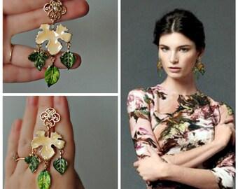 Earrings  Dolce style - Leaves