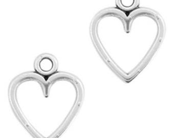"DQ Metal pendant, charm ""Heart""-3 pcs.-Zamak-color selectable (color: silver)"