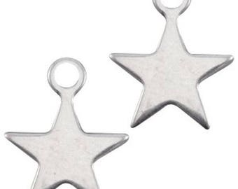 "DQ Metal Pendant ""stern"", Charm-3 pcs.-15 x 12 mm-Zamak-color selectable (color: silver)"