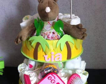 """""""In the Savannah"""" diaper cake personalized"""