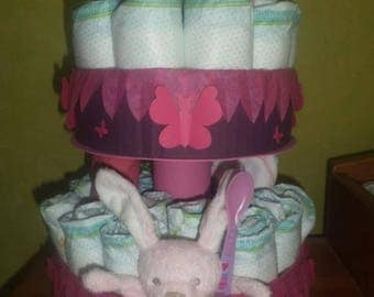 """Butterfly girl"" diaper cake"