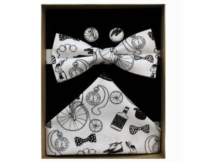Gentlemens Club Black & White Bow Tie Cufflink and Handkerchief Boxed Gift Set