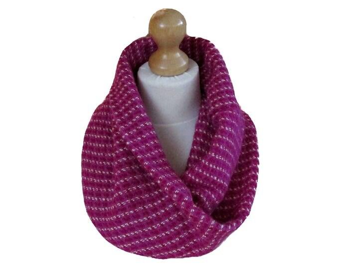 Linton Tweed Designer Cowl Neck Infinity Scarf in Pink Shades