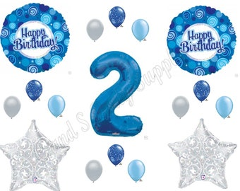 Blue & Silver Two Much Fun 2ND Second  Birthday Party Balloons Decoration Supplies