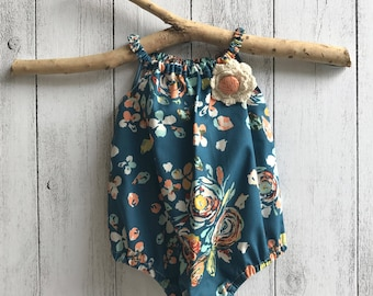 """Baby girl """" Free Spirit"""" Sleeveless romper - Navy Floral with brooch Sizes 0000 to 2"""