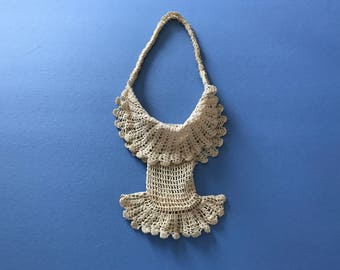 1890's Antique Victorian Handbag ~ Handmade Light Beige Crocheted Purse ~ Gorgeous In Great Condition ~ 17 Inch by 5 Inch