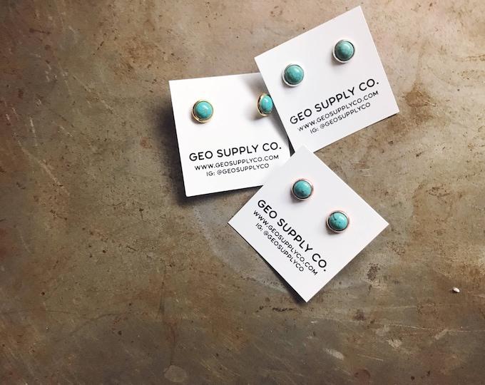 Tiny Turquoise Stud Earrings //Howlite Stud Earrings // Marble Metallic Earrings // Geo Supply Co.