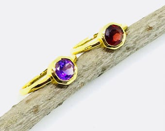 Amethyst, garnet stackable rings set in brass with gold vermeil. Natural authentic gemstones. Size -6