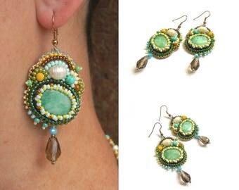 Mismatched earrings Seed bead earrings Beadwork earrings Beaded embroidery jewelry Jadeite earrings Green jewelry St patricks day