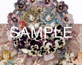 Fabric Art Quilt Block - Cats & Pansies Collage  -  17-050- FREE Shipping