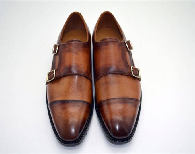 Handmade Goodyear Welted Men's Monk-Strap Dress Shoes,Vintage Pattern