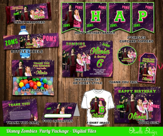Disney zombies birthday party package printable party kit il570xn stopboris Gallery