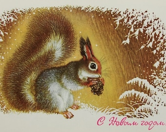 Happy New Year! Illustrator A. Isakov - Vintage Soviet Postcard, 1977. Squirrel Cone Snow Snowflakes Winter Forest Merry Christmas Print