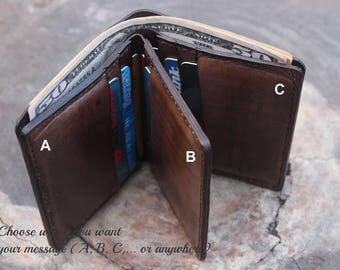 Men's Leather Wallet / Personalized Leather Wallet / mens leather wallet  /Perfect gift for him /Gift Idea leather/ Groomsmen Gift/ VD190