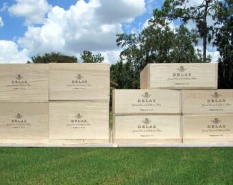 French Wine Crates, DELAS FRERES Rhone Valley France, Wood Crates Crafts, White Wedding Decor, Gift Card Box, Herb Garden Box, Storage Box