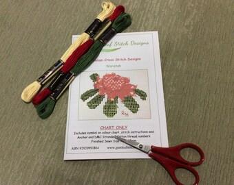 Australian flora cross stitch chart - Waratah.  PDF instant download