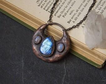 Blue Teardrop Labradorite with Rainbow Moonstone Necklace | Electroformed Copper | Crystal Necklace