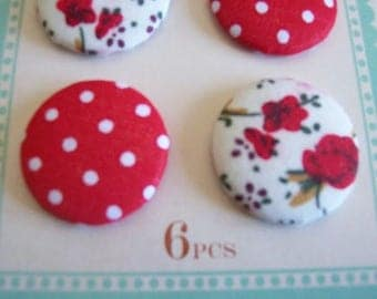 fabric buttons pack of 6 fabric covered red and white buttons NEW medium size