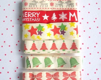 Christmas ribbon pack of 6 different ribbons with Christmas design 1 yard each (6 yard total)