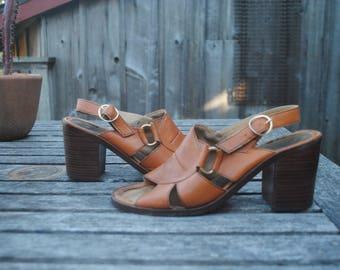 Cute Vintage Orange/Brown Chunky Stacked Heel Sling Back Peep Toe Sandals, Woman's Size 7-7.5