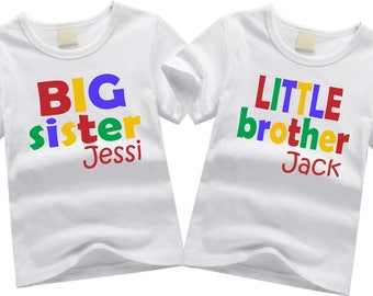 Personalized brother shirts. Sibling shirt set. Big sister, little brother. Custom sibling shirt SET OF 2.  Colorful block letters.