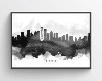 Seattle Skyline Poster, Seattle Cityscape, Seattle Print, Seattle Art, Seattle Decor, Home Decor, Gift Idea, USWASE11P