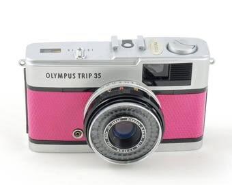 Olympus Trip 35 in Pink Lizard Leather
