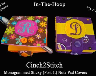 """Monogrammed Sticky (Post-It Note) Notepad Cover - In The Hoop - Machine Embroidery Design - 5""""x7"""" Hoop"""