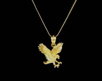 Vintage Estate 14K Yellow Gold Necklace w/ Eagle Pendant 4.2g E3306