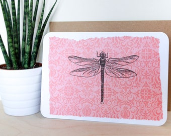 Dragonfly A6 Card; blank inside, greetings card, summer, fly, insect, bug, wildlife, illustration, birthday, summer, picnic, july, pink