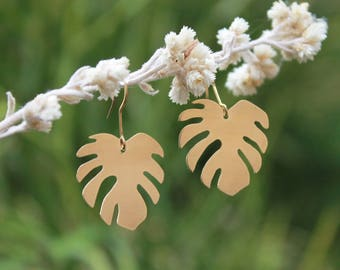 Mini Monstera Earrings | Full Brass Earrings | Plant Lady | Monstera Drop Earrings | Leaf Earring| Plant Lovers | Made-To-Order