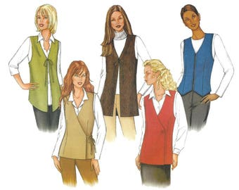 Butterick 3200 Sewing Pattern Misses Various Lined Vests Button Zipper or Tie Closures Easy Uncut