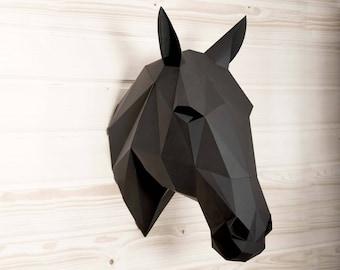 Horse paper KIT | equestrian decor | wall sculpture | Stallion trophy | Boho wall art | Babyshower decor | wall sculpture | horse decor
